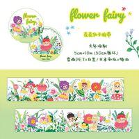 Gift Wrap 10M Kawaii Flower Fairy PET Washi Tapes Journal Masking Tape Adhesive DIY Scrapbooking Decoration Sticker
