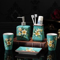 Chinese Style Home Decor Wedding Gift Bath Ceramic Bathroom Accessories Set Soap Dish Toothbrush Holder Dispenser Accessory