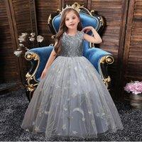 Girl's Dresses BH-2042#Ball Gown O-Neck Flower Girl Long Children's Dress Bow Green Blue Wine Red Ping Gary Wholesale