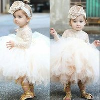 2021 Vintage Flower Girls' Dresses Baby Infant Toddler Baptism Clothes Lace Tutu Ball Gowns Birthday Party Dress Custom Made