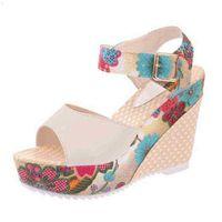 Women Sandals Summer Platform Wedges Casual Shoes Ladies Floral Super High Heels Open Toe Slide Slippers Sandalias Zapatos Mujer 210619 FUIG