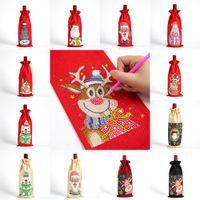 Diamond Painting Christmas Wine Bottle Cover DIY GIft Santa Claus Drawstring Bag Kits Christmas Decorations w-01154