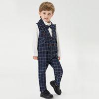 Top and Top Fashion Boys Formal Suit Set Gentleman Shirt Vest Pants 3Pcs Outfit Kids Boys Tuxedo for Wedding Party Blazers 210506