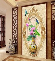 Wallpapers Custom Mural 3d Po Wallpaper Vase Lotus Birds And Flowers Porch Room Home Decor Wall Murals For Walls 3 D