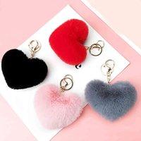 Güzel Kalp Anahtarlıklar kadın Pom Poms Faux Rex Tavşan Kürk Topu Anahtar Zincirleri Kız Çanta Asmak Araba Anahtarlık Kolye Llaveros