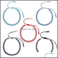 Charm Jewelryhandmade Knots Mti Color Bohemian Tibetan Woven Bracelet Lucky Rope Braided Bracelets For Women Men Jewelry 2927 Drop Delivery