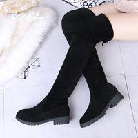زائد الحجم 35 51 جديد جديد على الركبة أحذية النساء الخريف نمط رواج أحذية امرأة عالية الكعب مثير السيدات الترفيه التمهيد T2RE #