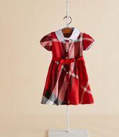 여름 소녀 격자 무늬 드레스 preppy 스타일 키즈 인형 옷깃 반소매 드레스 어린이 면화 격자 pleated 의류 a2594