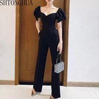 Women's Jumpsuits & Rompers High Quality Off Shoulder Sexy Women Jumpsuit 2021 Summer Puff Sleeve Casual Waist Jump Suit Playsuit Slim Long