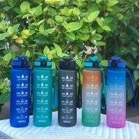 1L Motivacional Tritan Botella de agua Bouncing Covering Outdoor Portable Fitness Sports Cup con paja y marcador de tiempo