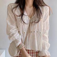 Elegant Korean Flower Tops Irregular Lace Blouse Shirt Sweet Short Design V Neck Women Clothes Blusa Feminina Women's Blouses & Shirts