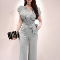 Summer 2 Pieces Set For Women Sleeveless Tops And Long Pant Suits V-Neck Ladies Work Wide Leg Office Trousers Suit Women's & Blazers