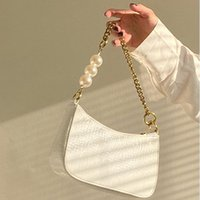 Evening Bags Pearl Chain Designer Luxury Soft Top-Handle Tote Women Alligator Leather Hourglass Handbag Girl Shoulder Messenger Female
