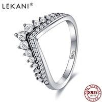 Lekani Real 925 Sterling 5A Cure Cubic Crown Crown Ring Classic Stackable Silver Jewelry para las mujeres Regalo de aniversario de boda