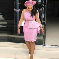 Knee Length Plus Size Prom Dresses Pink Peplum Illusion Long Sleeves Mermaid Evening For African Women Aso Ebi Party Gowns
