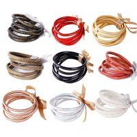 Charm Bracelets 5Pcs Bohemia Glitter Jelly Bangle Bracelet Set Bowtie PU Leather Hoop F3MF