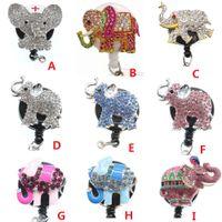Venta al por mayor Key Anillos Mix Encantadores niños Plata Multicolor Rhinestone Elephant Aniaml Retractable Identificación de la identificación Titular de la enfermera