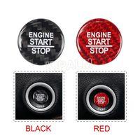 1 peça Real Fibra de Carbono Fibra Do Carro Start Stop Botão Botão Adesivo Cobertura de Capa Para Dodge Challenger SRT Acessórios