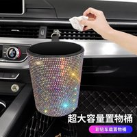 Other Interior Accessories Diamond Car Trash Air Conditioner Storage Bag Hanging Paper Basket High Capacity Bucket Women