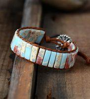 Tennis Adjustable Bohemia Ethnic For Women Natural Stone Leather Wrap Bracelet Beads Men Jewelry Drop