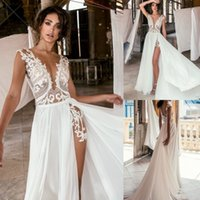 Sexy Julie Vino A Line Wedding Dress With High Split Cheap Deep V Neck Illusion Lace Applique Bridal Gowns Custom Made