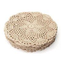Mats almofadas moda 10 dúzias de moda de algodão vintage redondo mão de crochê de rendas de cinto de laço oco out floras de isolamento da flor