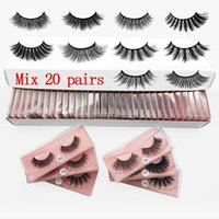 False eyelashes 20 pairs a pack 3D mink suit natural eye tail lengthens lashes lash box packaging faux cils