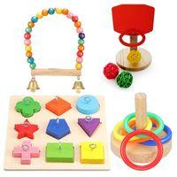 다른 조류 용품 훈련 장난감 세트 나무 블록 퍼즐 앵무새 농구 다채로운 스태킹 반지 포함