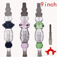 high quality Nectar Collector Pipes with 14mm Titanium Tip Quartz Tip dab Oil Rig Concentrate Dab Straw water Bong smoking accessories 9inch