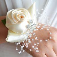 Wrist Flower Corsage Pearl Bead Crystal Bridemaid Wedding Prom Bracelet Unique Beautiful Practical For Decorative Flowers & Wreaths