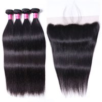 Virgin Hair 4 Bundles Straight Body Wave with Ear to Ear Swiss Lace Frontal 13x4 Hair Extensions Indian Malaysian Brazilian Hair Weaves Natural Black Color