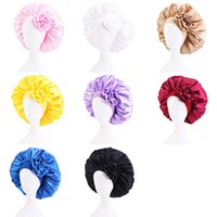 Large Satin Wide Band Solid Color Night Hat With Flower For Women Girl Elastic Sleep Caps Headwear Home Hair Care Fashion Accessories