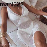 2021 여름 화이트 니트 비치 드레스 여성 휴일 섹시한 수영 Bikinis Cover Ups Dresses Backless Maxi Robe Plage Beachwear