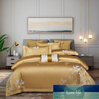 Bedding Sets Gold Jacquard Set King Queen Size Embroidery Bed Linen 1000TC Cotton Duvet Cover Sheet Pillowcases