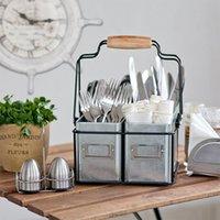 Küchenaufbewahrungskorb Geschirr Legierung Eimer Desktop Sungybies Tools Organizer Regal Tragbares Picknick mit Griffkörben