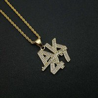 Hip Hop Iced Out Bling Gun Pendant Necklaces Male Gold Color Stainless Steel Chain For Men Hiphop Jewelry Gift Drop