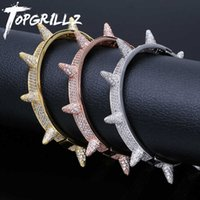 TOPGRILLZ Iced Out Spikes Bangles Rivet Cone Stud Cuff Twist Thorns Bracelets Cubic Zirconia Bling AAA Hip Hop Jewelry 210609
