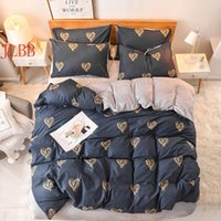 Bedding Sets AB Side Winter Set A Polyester + B Coral Fleece Flat Sheet Heart Duvet Cover Home Textile Bed Linens 3 4pc
