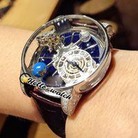 2021 TWF Rotating Blue Dial Relógios CR7 Epic X Chrono Decoração Astronómica Tourbillon Skeleton Swiss Quartz Mens Relógio de Aço Diamante Capa de Caso de Couro Hello_Watch