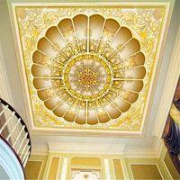 바탕 화면 유럽의 고전적인 럭셔리 황금 3D 양각 천장 포 벽지 엘 레스토랑 거실 장식 벽화 벽 종이