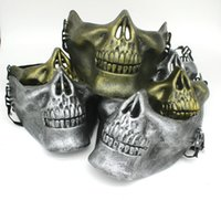 Half Face Protective Skull Mask Gold Silver Airsoft Mask Halloween Party Scary Masks Masquerade Cosplay Plastic Horror Mask DBC VT0781