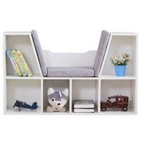 6-кубиковые держатели для хранения стойки дети книжный шкаф, многоцелевой организатор кабинета шельфа дети темно белый для одежды, обувь, игрушки