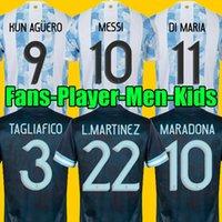 ARGENTINA Futebol Jersey Torcedores e versão jogador 2021 Copa america MESSI DYBALA AGUERO Camiseta Maradona 20 21 Masculino Infantil define uniforme com meias