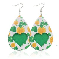 Valentine's Day Pelle orecchini gioielli leggero PU lacrime a forma di cuore a forma di cuore pendenti a goccia orecchino regalo per mamma mamma HWD6000