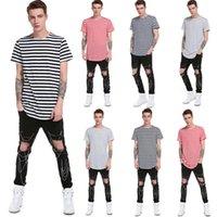 2019 nova moda masculina do verão t-shirt listrado top listrado solto O-pescoço de mangas curtas