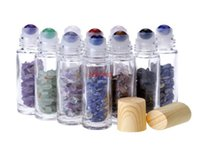 Essential Oil Diffuser 10ml Clear Glass Roll on Perfume Bottles with Crushed Natural Crystal Quartz Stone,Crystal Roller Ball Wo