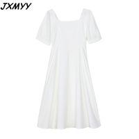 Fashion plus size women's dress summer style French retro Hepburn square collar temperament little black 210510