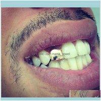 Grillz, Dental Grills Body Jewelryhiphop Custom Gold Plated Single Tooth Cap Hip Hop Braces Rap Singer Jewelry Teeth Sets Wholesale 9Pfd9 Zi