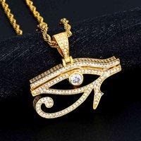 Forntida Egypten Ögon av Horus Hängsmycke Halsband för kvinnor och män Guldfärg Koppar Round Hip Hop Smycken