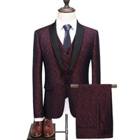 Men's Suits & Blazers Blazer High-end Luxury Wedding Banquet Personality Floral Jacket Large Size S-6XL Suit 3 Sets (suit + Pants Vest)